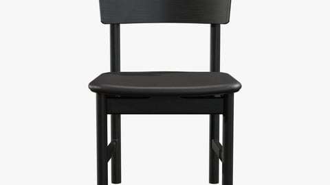 Mogensen Chair Model-3236 Black lacquered Low-poly 3D model