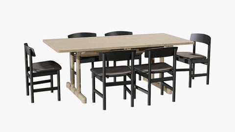 DiningSet-V-01Mogensen Table 6286 andChair 3236 Low-poly 3D model