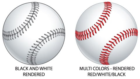 Vector baseballs in 4 different colorways