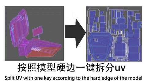 根据(硬边) 一键拆分uv   //  Split uv with one key (hard edge)    ---------Maya script