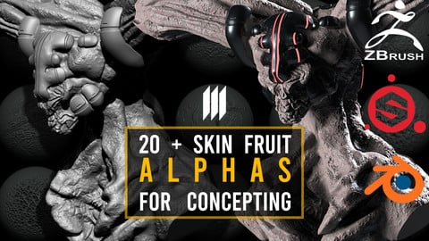 20 Skin Alphas From Fruits For Zbrush / Substance Painter / Blender