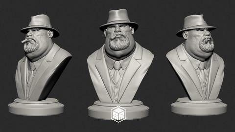 Mafia Boss Bust - 3D Print Ready
