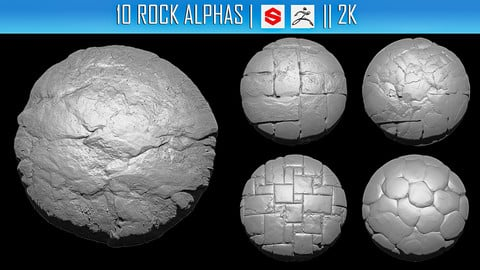 10 Rock Alphas (ZBRush, Substance, 2K)