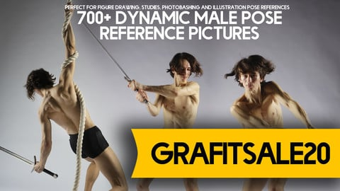20% OFF - GRAFITSALE20 - 700+ Dynamic Male Pose Reference Pack