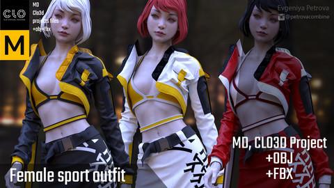 Female Sport Outfit. MD, Clo3d + OBJ + FBX