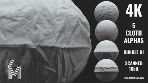 5 Scanned Cloth Alphas 01 | Realistic Detailed Wrinkles and Seams for ZBrush, Blender and Mudbox