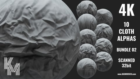 10 Scanned Cloth Alphas 02 | Realistic Detailed Wrinkles for ZBrush, Blender and Mudbox