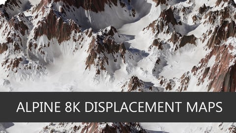 10 Realistic 8K Alpine Snowy Mountains Displacement/Height Maps