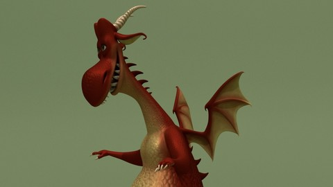 Cartoon Dragon Red & Green