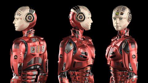 Futuristic Robot Man 2.5 Rigged 3D model (max, obj, fbx)