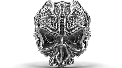 Gothic Skull Ring 3D Model For Printing  - GP9