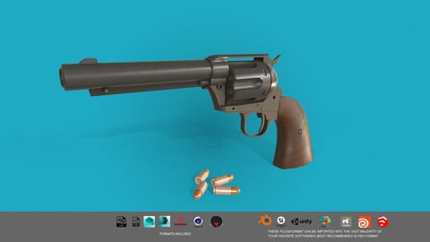 Revolver Colt Single Action 3D model Low-poly 3D model