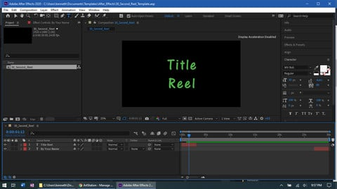 After Effects 30 sec reel template