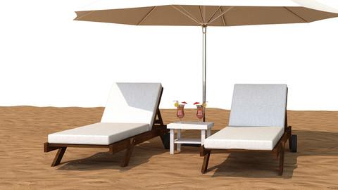 Sunbed With Umbrella