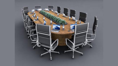 Meeting Table 3D Model 04