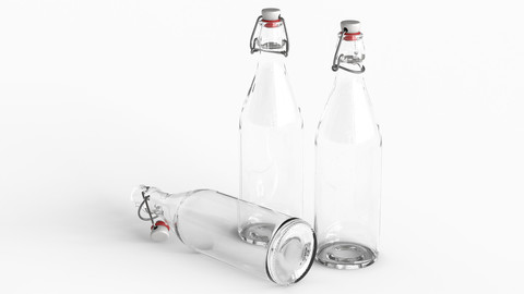 Low-poly PBR Glass Bottle