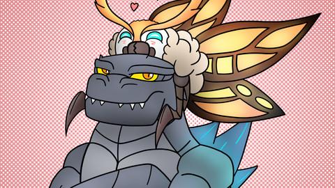 Happy Valentine's Day Godzilla & Mothra