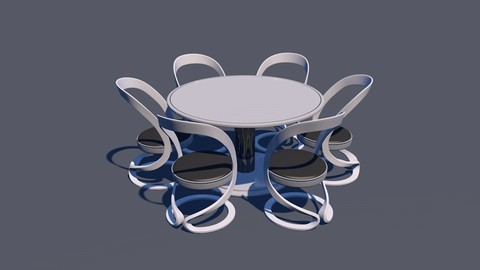 ROund Table Dining Set 3D Model