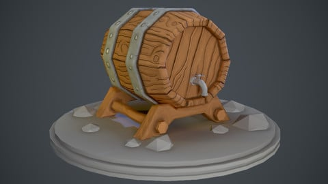 Stylized cartoon-like barrel with crane