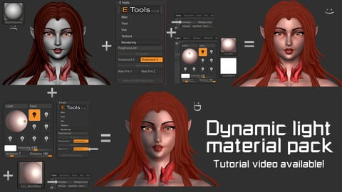 Dynamic light material pack for ZBrush 2020 and 2019.1.2. 25 materials total.