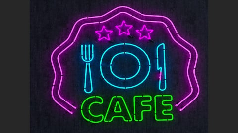 Cafe & Food Neon Sign
