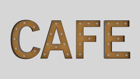 Cafe Sign With Bulb
