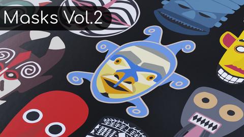 12 Unique Vector Hand-drawn Masks Vol. 2