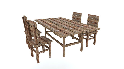 Old Wooden Chair Table