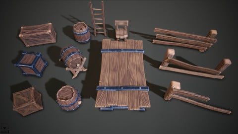 Stylized Medieval Set 1, Furniture