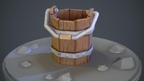 Stylized cartoon-like wooden bucket