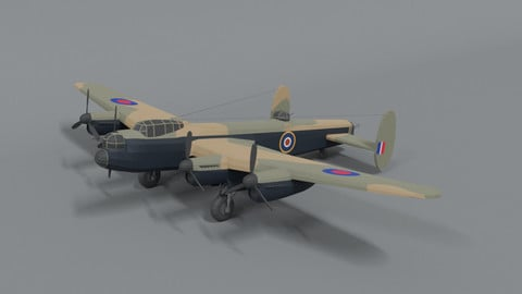 Low Poly Cartoon Avro Lancaster WWII Airplane