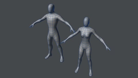 Base Mesh Male and Female Low-poly