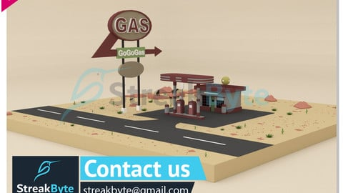 Low poly Desert Gas Station