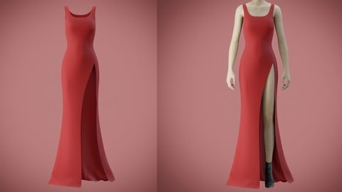 Red gown with high slit 3d model