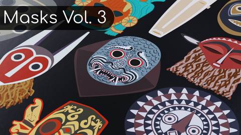 12 unique hand-drawn Masks Vol. 3