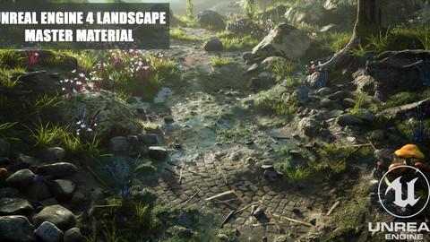 UE4 Landscape Master Material + Vertex Paintable Puddles