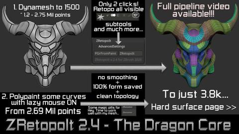Auto retopology plugin for ZBrush 2020 and 2019.1.2 - Zretopoit 2.4