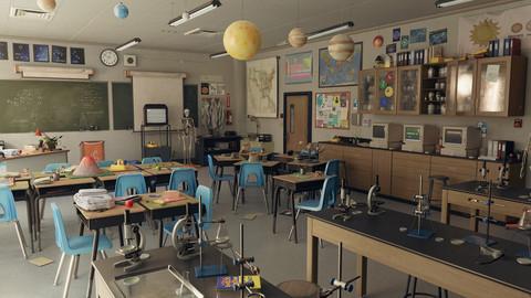 UE4 High school Science Lab Classroom - 90's themed (Day/Night Lighting)