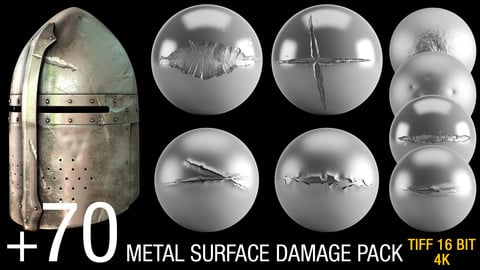 +70 METAL SURFACE DAMAGE ALPHA PACK (tiff 16bit, 4K)