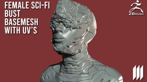 Female Sci-Fi Bust BaseMesh WIth UV's - Ztool