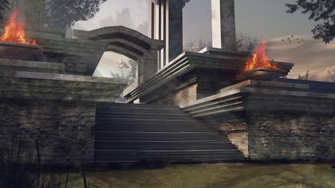 Concept art Temple ruins - PSD+FBX 3DMODEL