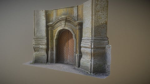 Old rusty church gate scan Low-poly 3D model