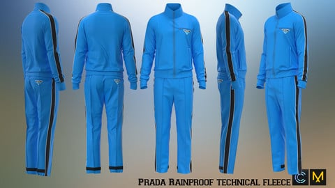 Prada Rainproof technical fleece Jacket and Pants, Marvelous designer, Clo3d