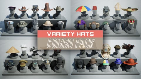Variety Hats Props COMBO PACK (UE4)