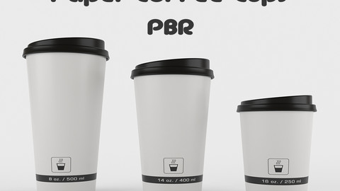 Paper Coffee Cups - PBR Low-poly