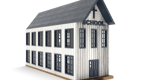 old wooden school PBR- western town Low-poly