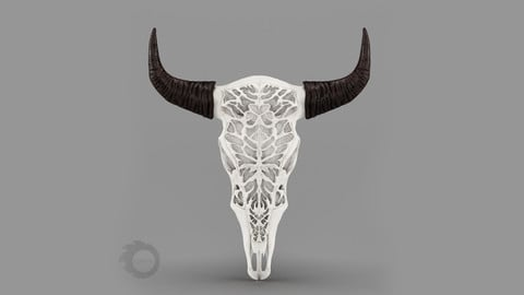 Wall decor Bull Skull with bone carving