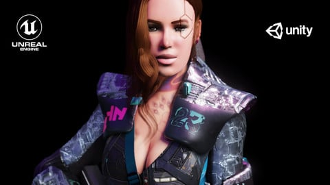 Sci fi Cyberpunk Action Girl Adrestia-Rigged