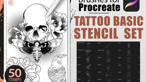 Procreate - Tattoo Basic Stencil Set