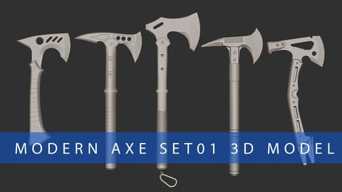 Modern Axe Set01 Highpoly 3D Model